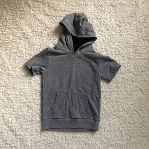 Hooded Pullover Short Sleeve Sweater Like Top